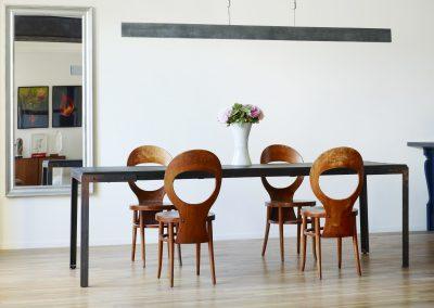 Création table (acier & bois massif) et luminaire (zinc).